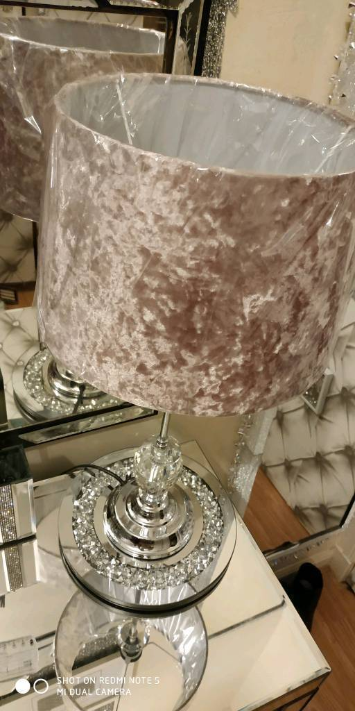2x Dusky Pink Blush Crystal Lamps In