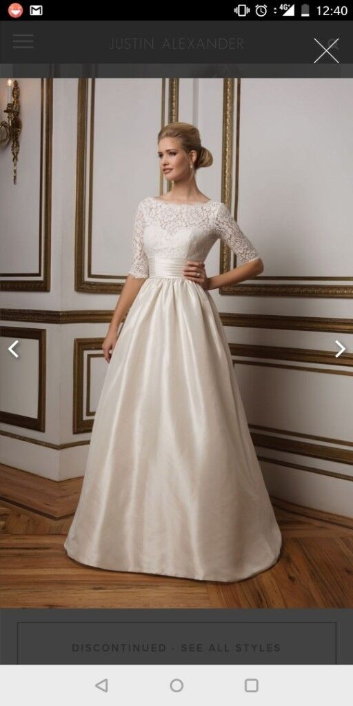 Justin Alexander,lace sleeved ball gown wedding dress | in ...