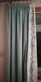 Kingside throw with matching pillow slips and lined embroidered curtains set