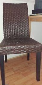 2 x Brown Rattan Wicker Ikea Dining Chairs
