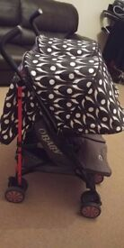 O BABY LETO DOUBLE STROLLER SET WITH FOOTMUFFS AND RAIN COVER, USED