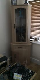 Lovely Decorative Wooden Corner Unit with Glass Shelves