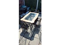 Heavy black glass table plus heavy 6 chairs plus small heavy table