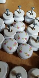 Porcelain knobs for kitchen or other drawers/cupboards, rose patterned x 26