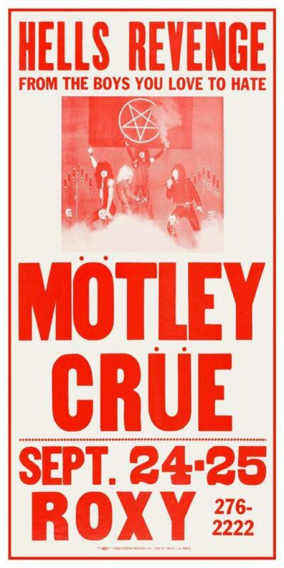 Motley Crue * POSTER * live @ the Roxy LOS ANGELES - RARE early 1982 gig