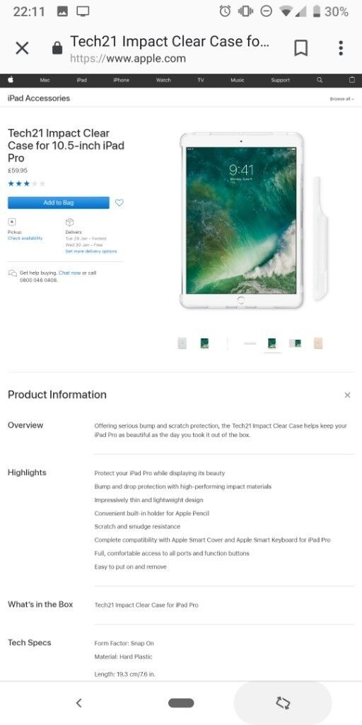 quality design f4d40 93704 Tech21 Impact Clear Case for 10.5-inch iPad Pro | in Didsbury, Manchester |  Gumtree