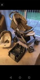 Pushchair withe carrycot and car seat