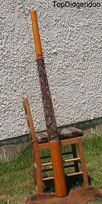 "59""150cm DIDGERIDOO+Bag+Beeswax Mouthpiece * Teak Wood Aboriginal Dot-Paint Art"