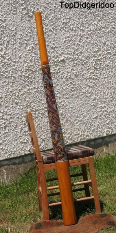 "59""150cm DIDGERIDOO+Bag+Beeswax Mouthpiece Teak Wood Aboriginal Dot-Paint Art"
