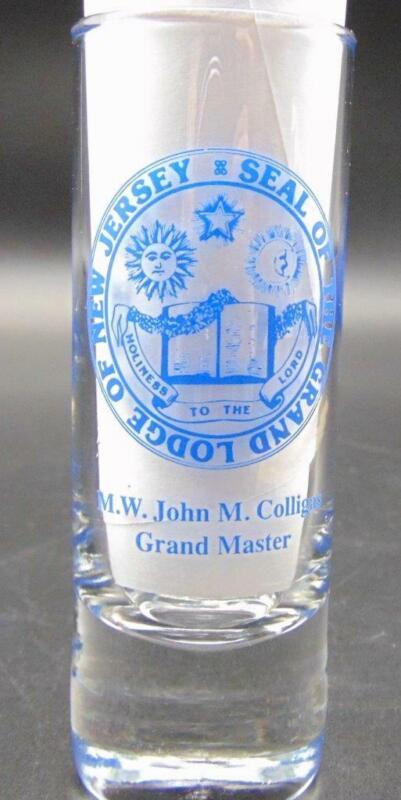 Masonic Lodge Shot Glass New Jersey Grand Master M W John M Colligas 2009