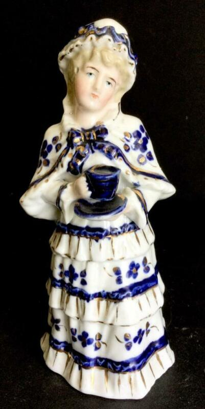 """Germany? England ? BLUE WHITE WOMAN WITH TEACUP  6"""" PORCELAIN BELL GREENAWAY"""