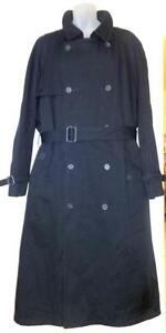 48 50 XL MENS LONDON FOG RAINCOAT LONG Trench ZIP LINING // BLUE-BLACK HIGH END