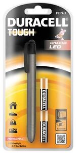 Duracell Tough Rugged Aluminium Pen Torch Super Clear LED Pocket Bright Light