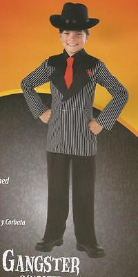 NEW Boys GANGSTER Costume Pinstripe Suit & Hat Halloween Mobster Rubies L 10-12