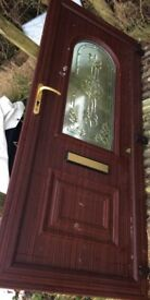 pvc door brown with central viewing panel, no frame