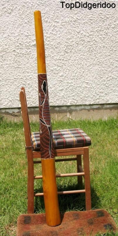 """51""""130cm DIDGERIDOO+Bag+Beeswax Mouthpiece Teak Wood LIZARD Artwork Dot-Paint"""