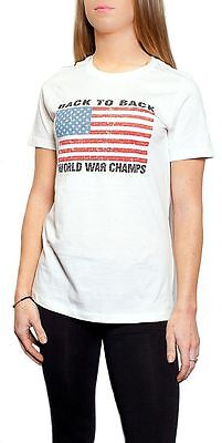 Back To Back World War Champions Champs Patriotic USA Women Misses T-shirt (Back To Back World War Champs Womens)