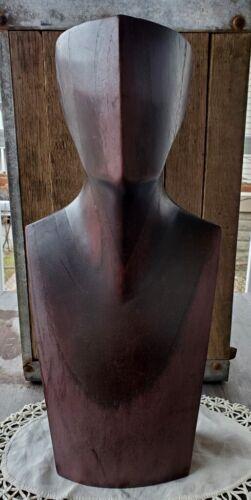 "Dynamite Midcentury Modernist Hand Carved Wood Bust 15.5"" High"