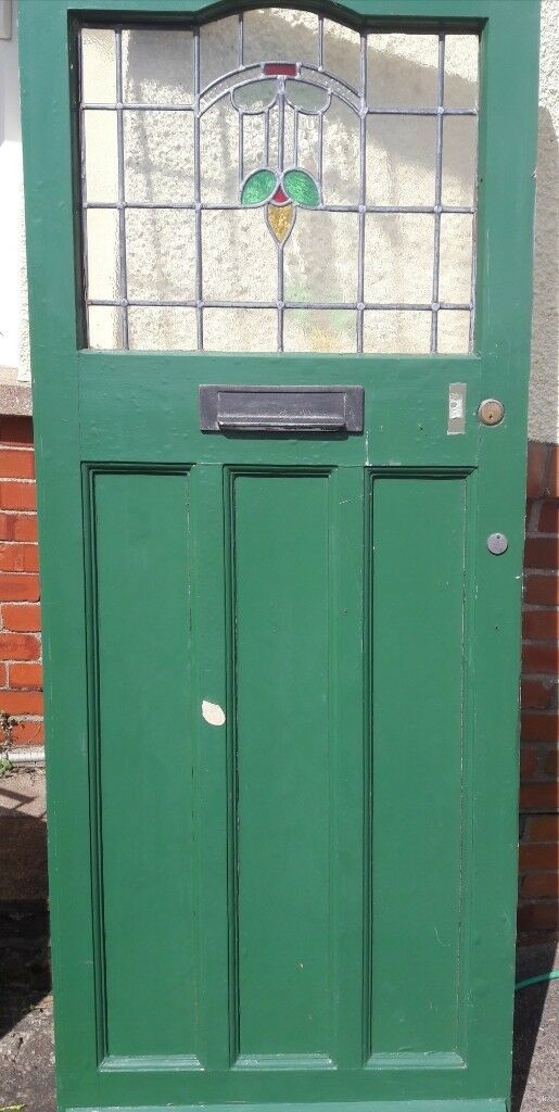 1930s External Front Door With Stain Lead Glass Window In