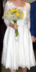 Wedding dress,10-12. stole one size, Monsoon shoes, size 7- fits size 6, pumps, size 6