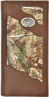 Badger Western Mens Wallet Leather Camo Inlay Rodeo Brown DBW452