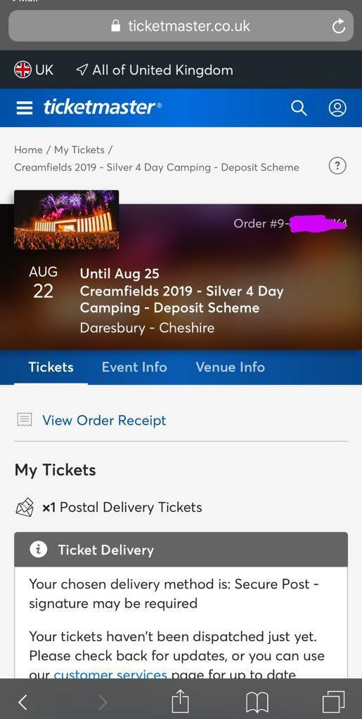 1x Creamfields 4 day silver camping ticket for sale | in Burbage,  Leicestershire | Gumtree