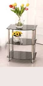 NEW!! Glass shelving /Side Table Unit