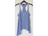 Women's Size 12 George Vest Top - Blue and White Stripes