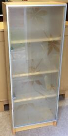 Ikea Billy bookcase with frosted glass door in birch finish