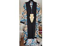 Blue and Black Floral Print Kameez (Pakistani Dress)