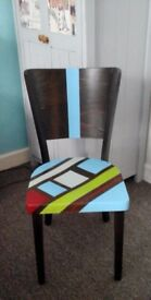 Brown & bright coloured painted wood chair excellent condition
