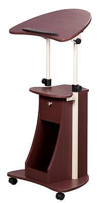 Tilt-top adjustable mobile laptop caddy w/cabinet door- Chocolate Adjustable Height Laptop Caddy