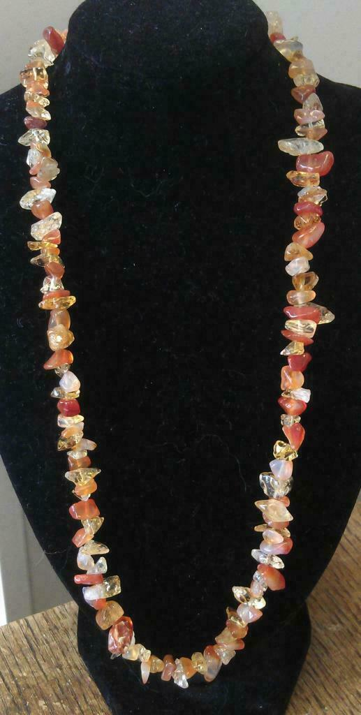 "Carnelian and Citrine Chip Necklace 16"" to 34"", Long Necklace, Short Necklace"
