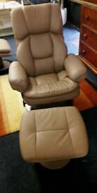 Leather *recliner/swivel chair plus footstool*BEIGE*
