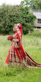 Bridal lengha with long trail