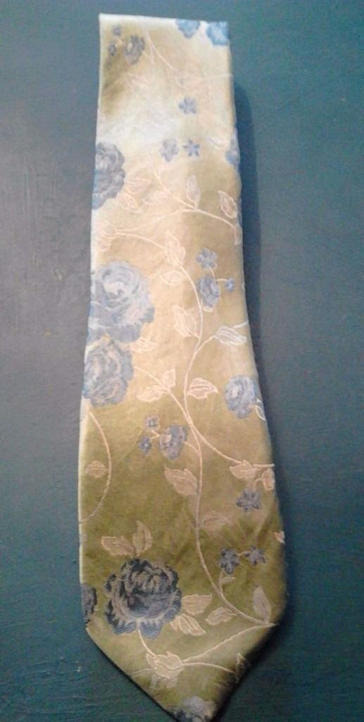 Alexandre Savile Row Luxury Green Blue and White Floral Designs Pure Silk Men's Tie.