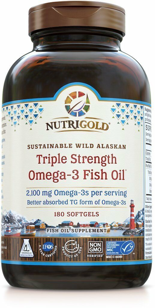 Nutrigold Triple Strength Omega-3 Fish Oil Supplement, 2100