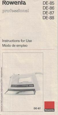 Rowenta Professional Steam Iron Manual for Models DE-85 86 87 88
