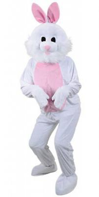 ADULT WHITE BUNNY RABBIT MASCOT COSTUME Easter Bunny Fancy Dress Outfit 8539 - Adult Easter Dresses
