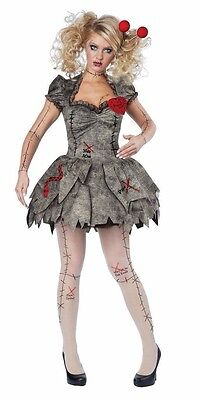 VooDoo Dolly Costume Voo Doo Broken Doll Womens Sexy Adult XS, S, M, L, XL Plus - Womens Doll Costume
