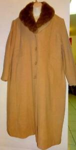 "NEW 3X JESSICA LONG WOOL COAT / $275 SRP / Deadstock / FUR COLLAR / 48 50"" / CAMEL BROWN 22 LONG PLUS XXL / SLENDERIZING"