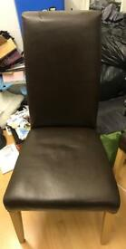 6 x Brown Faux Leather Chairs