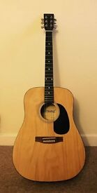 Westwood Acoustic Guitar, and case, excellent condition, restrung for left handed players