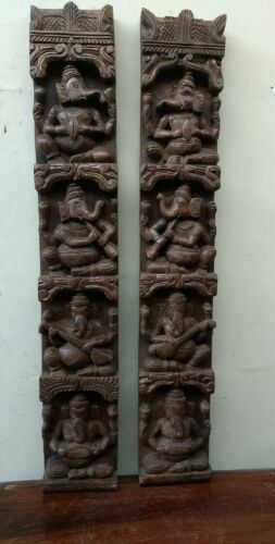 Vintage Musical Ganesh Set Wooden Wall Vertical Panel Hindu God Sculpture panel