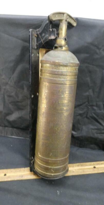 Empty Vintage Pyrene Heavy Duty Brass Fire Extinguisher w/ Bracket
