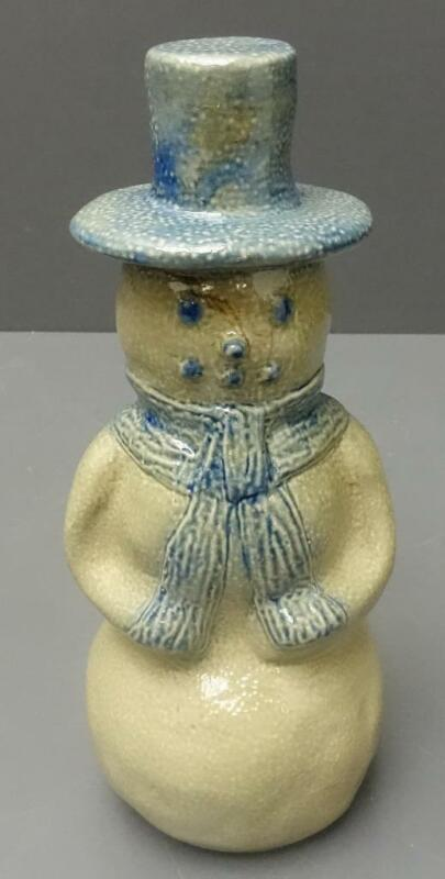 "BEAUMONT BROTHERS Pottery 1994 BBP 7.5"" snowman w/ top hat blue gray salt glaze"