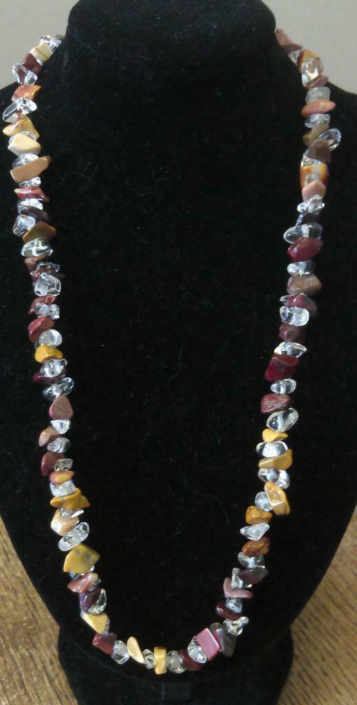 "Mookaite & Clear Quartz Chip Necklace, 16"" to 34"", Long Necklace, Short Necklace"