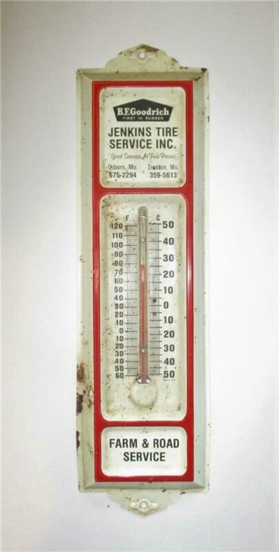 Vintage B.F. Goodrich Tire Thermometer Jenkins Farm & Road Service Mo. Missouri