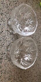 2x Crystal Glasses & Glass Tray