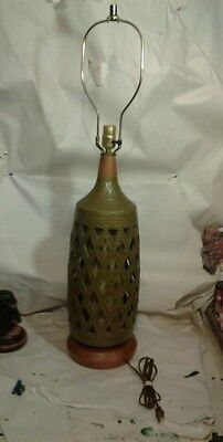 Vintage Olive Green Berger Mid Century Electric Lamp Light